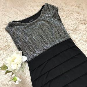 Enfocus Silver/Black Cocktail Dress Size 14 043